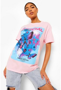 Baby pink pink Tall Butterfly Printed Oversized Tshirt