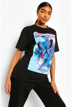 Black Tall Butterfly Printed Oversized Tshirt
