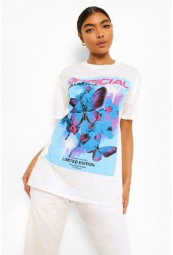 White Tall Butterfly Printed Oversized Tshirt