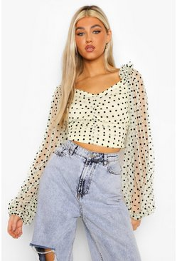 Lemon yellow Tall Polka Dot Volume Sleeve Corset Top