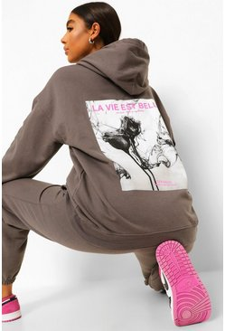 Charcoal grey Tall Back Print Oversized Hoodie