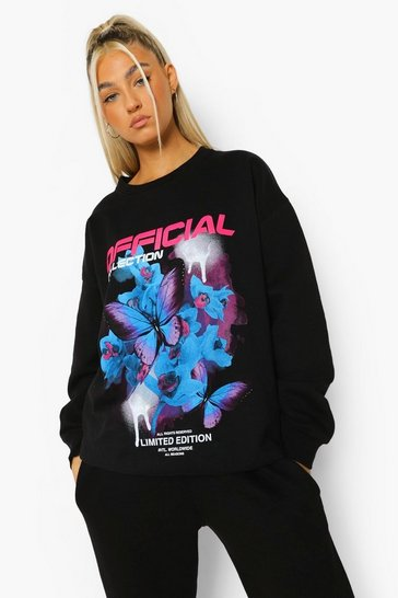 Black Tall Butterfly Printed Sweatshirt