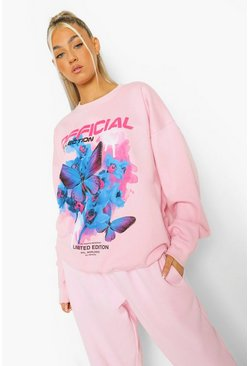 Pink Tall Butterfly Printed Sweatshirt
