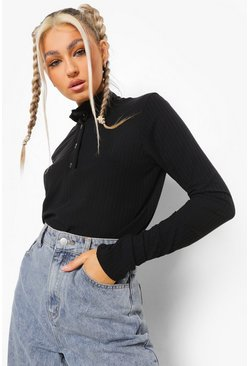 Black Tall Rib High Neck Collar Top