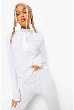 Ecru white Tall Rib High Neck Collar Top