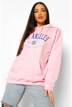 Sudadera con capucha estilo universitario con estampado Los Angeles Tall, Rosa