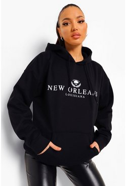 Black Tall New Orleans Collegiate Print Hoody