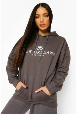 Charcoal grey Tall New Orleans Collegiate Print Hoody