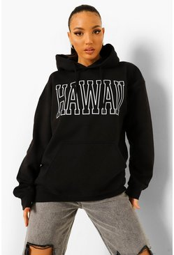 Black Tall Hawaii Print Hoody