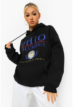 Black Tall Ohio Collegiate Print Hoody