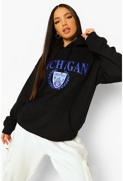 Black Tall Michigan Collegiate Print Hoody