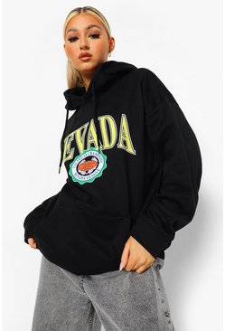 Black Tall Nevada Collegiate Print Hoody