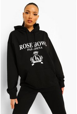 Black Tall Rose Bowl Collegiate Print Hoody