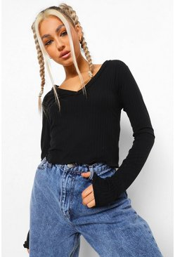 Black Tall Rib Lettuce Hem Long Sleeve Top