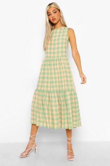 Green Tall Check Print Woven Midi Dress
