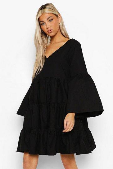 Black Tall Cotton Poplin Flare Sleeve Smock Dress