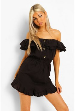 Black svart Tall - Playsuit i linnetyg