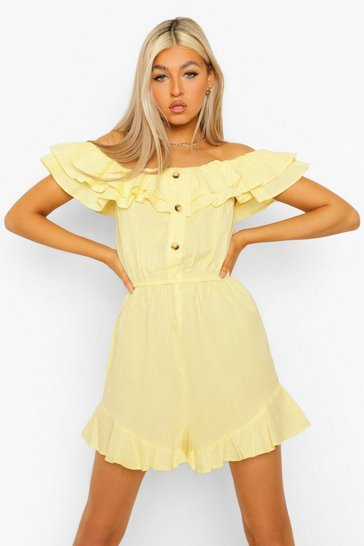 Lemon yellow Tall Cotton Linen Playsuit