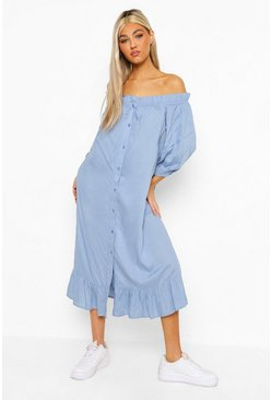 Blue Tall Bardot Button Ruffle Woven Midi Dress