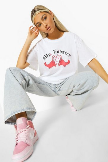 White Tall 'My Lobster' Slogan T-Shirt
