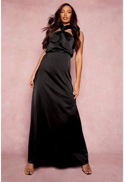 Black Tall Satin Halterneck Maxi Bridesmaid Dress