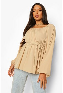 Stone beige Tall Woven Long Sleeve Top