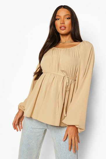 Stone beige Beige Tall Woven Long Sleeve Top