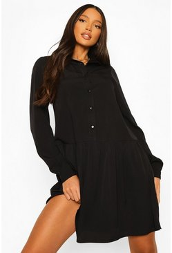 Tall Woven Shirt Drop Hem Dress, Black Чёрный