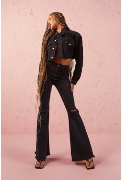 Black Tall High Waist Ripped Stretch Flare Jean