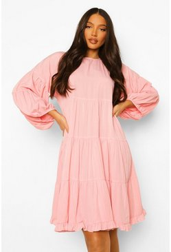 Pink Tall Woven Smock Dress
