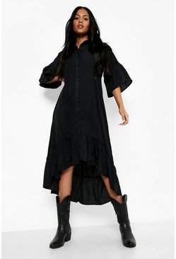 Black Tall Ruffle Midaxi Woven Dress