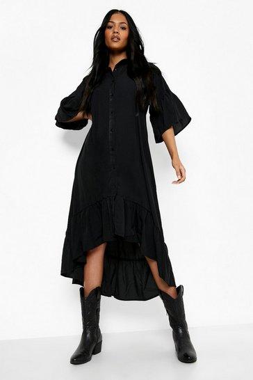 Black Tall Ruffle Midaxi Woven Dress