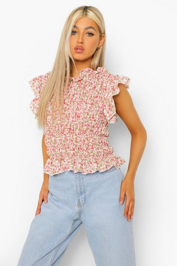 Ivory white Yellow Tall Woven Floral Print Shirred Top