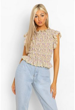 Yellow Tall Woven Floral Print Shirred Top