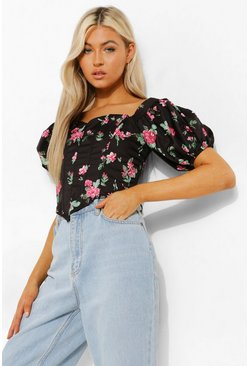 Black Tall Woven Boned Bardot Floral Corset Top