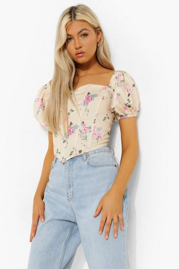 Yellow Tall Woven Boned Bardot Floral Corset Top