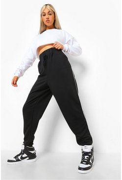 Black Tall Piping Side Jogger