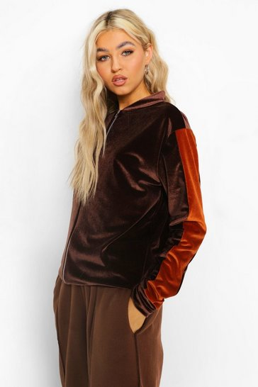 Chocolate brown Tall Velour Side Stripe Bomber Jacket
