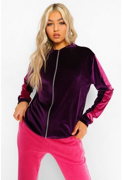 Purple Tall Velour Side Stripe Bomber Jacket