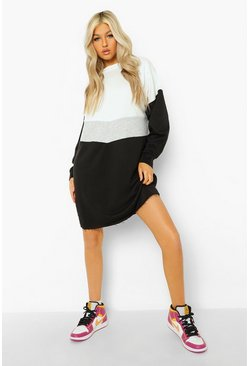 Black Tall Colourblock Sweatshirt Dress