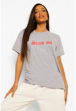 "Tall T-Shirt mit ""Stand Out""-Slogan, Weiß"