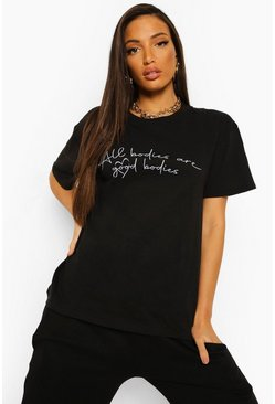 Black Tall Good Bodies Heart Slogan T-shirt