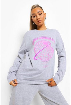 Grey Tall Universal Graphic Longsleeve T-shirt