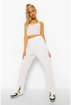 Ecru white Tall Straight Leg Split Hem Joggers