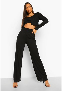 Black Tall Soft Rib 3 Piece Co-ord