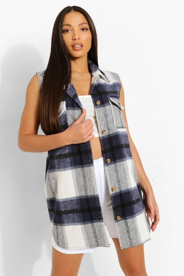 Navy Tall Sleeveless Check Shacket