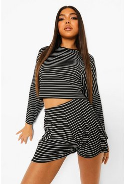 Black Tall Rib Oversized Striped Lounge Set