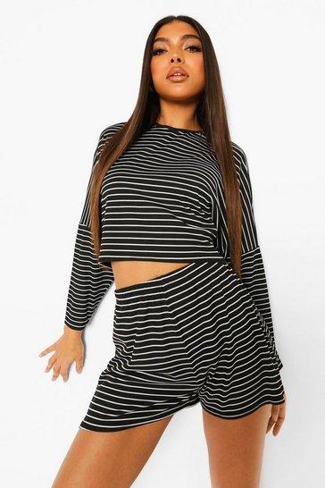 Black Tall Rib Oversized Striped Loungewear Set