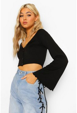 Tall V-neck Button Front Long Sleeve Crop Top, Black negro