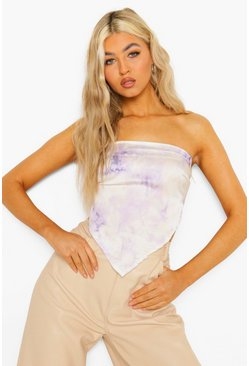Lilac purple Tall Tie Dye Tie Back Scarf Top